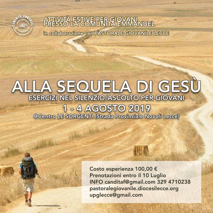 """1-4 Agosto 2019 """"Alla sequela di Gesù"""": esercizi nel silenzio per giovani"""